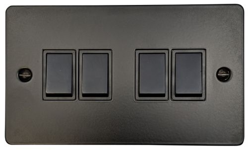 G&H FFB4B Flat Plate Matt Black 4 Gang 1 or 2 Way Rocker Light Switch